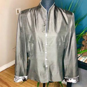 Adrianna Papell Silver Grey Silk Blazer-Size 14